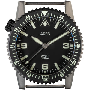 ARES® DIVER-1C Mission Timer® No-Date in combination Bead Blasted Stainless & Deep Black PVD coating