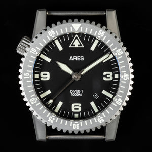 ARES® DIVER-1 Mission Timer® with Date in Bead Blasted Stainless