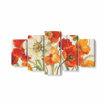 Tablou MultiCanvas 5 piese, Poppies Melody I - canvasgift.ro