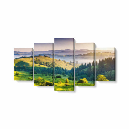 Tablou MultiCanvas 5 piese, Tree Mountain - canvasgift.ro