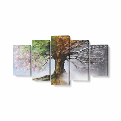 Tablou MultiCanvas 5 piese, Four Season Tree - canvasgift.ro