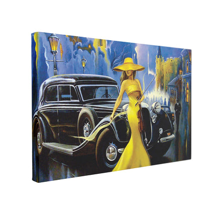 Tablou Canvas Car and Girl Old City - canvasgift.ro