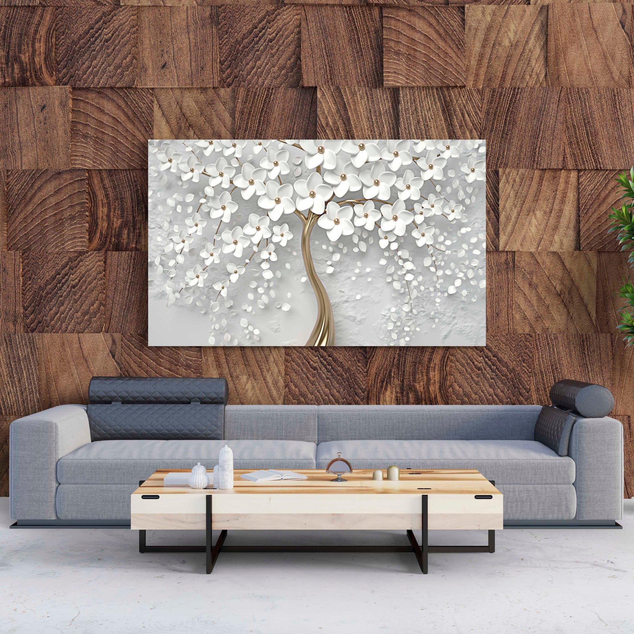 Tablou Canvas White Tree With Flowers