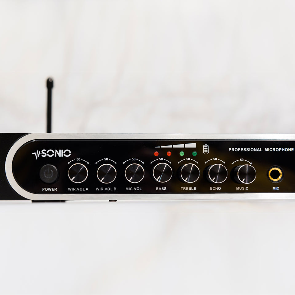 Adjustable Echo, Bass and Treble effect on the microphone voices.  Built-in mixer mixes the mic signal with music signal