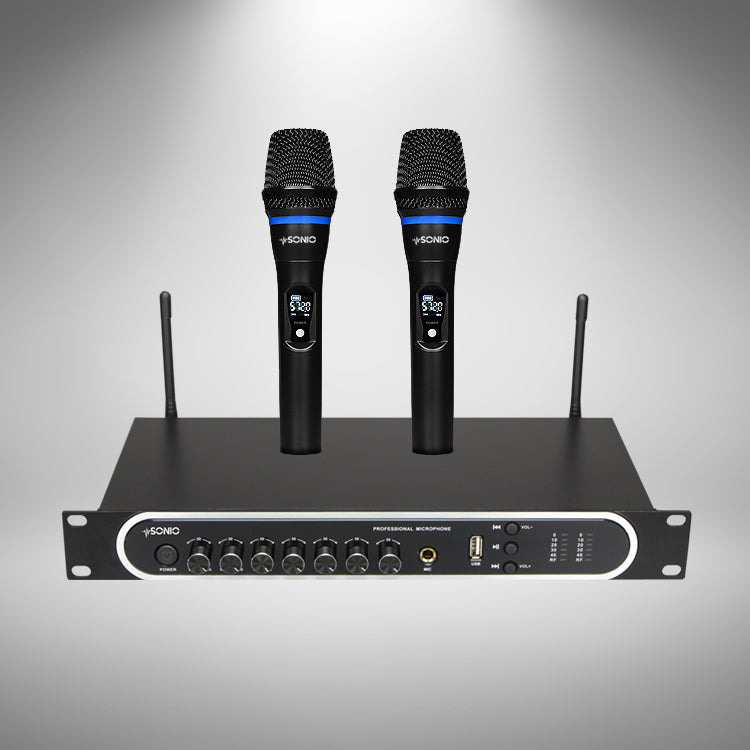 SONIO PRO Wireless Microphone System with Echo, Bass and Treble Control & Rechargeable Functions - Sonio