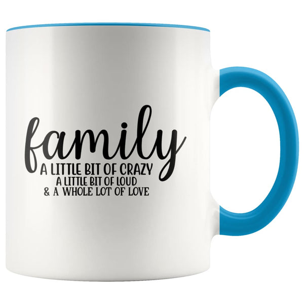 Family- A Little Bit Of Crazy Accent Mug - Blue - Drinkware