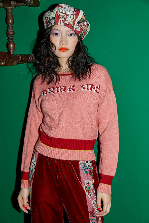 No:UP2019AW1155 | Name:Letter Round Neck Sweater | Color:Pink | 【UNLOGICAL POEM】