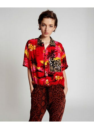 No:23472 | Name:Rock Red Animal Shirt | Color:Hawaiian【ONE TEASPOON】【入荷予定アイテム・入荷連絡可能】