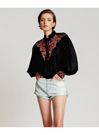 No:24245 | Name:Embroidered Gypsy Roamer Top | Color:Black【ONE TEASPOON】【入荷予定アイテム・入荷連絡可能】