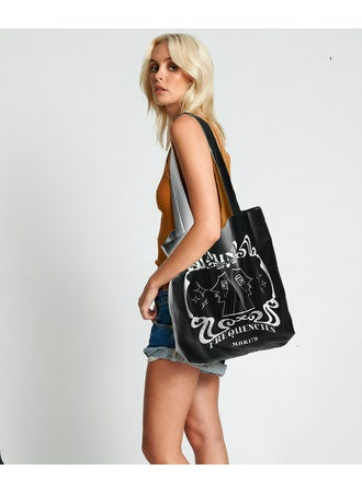 No:24310E | Name:Mind Frequencies Moblack Tote Bag | Color:Black【ONE TEASPOON】【入荷予定アイテム・入荷連絡可能】