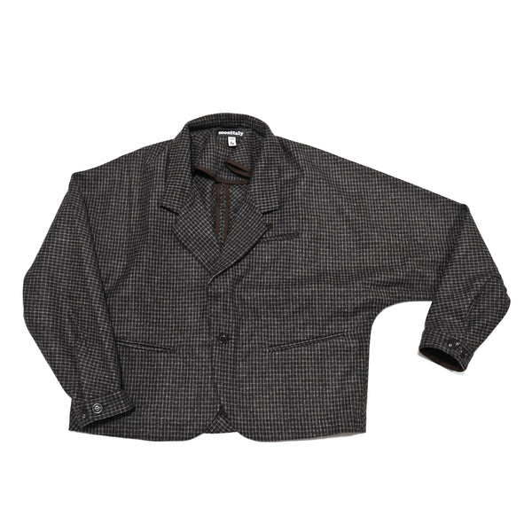 No:M28019 | Name:Dolman Blazer | Color:Wool Flannel Plaid Dk.Brown | Style: 【MONITALY】