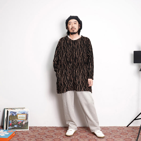 NO:VR20AW-RN-KN01 | Name:LEOPARD STRIPE OVERSIZED PULLOVER KNIT | Color:ONE COLOR | Style:【VARDE77】