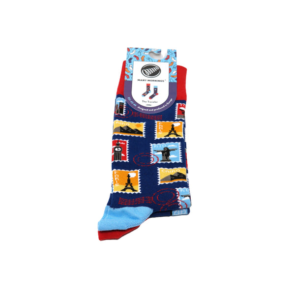 many mornings reguler socks /The Travel/ 【many mornings メニ―モーニングス】【ネコポス選択可能】