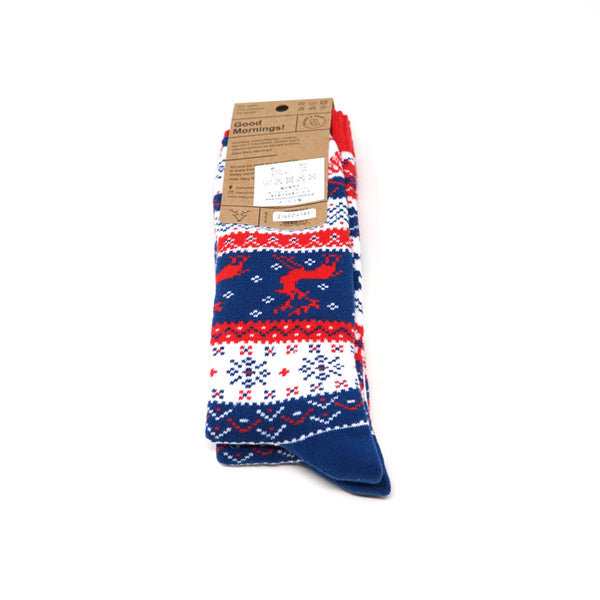 many mornings reguler socks  /Warm Rudolph (Warm) / 【many mornings メニ―モーニングス】【ネコポス選択可能】