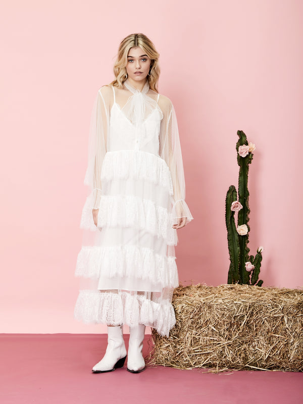 No:21SJ03DR1230WHT | Name:Lady Texas Lace Maxi Dress | Color:WHITE | Style:【SISTER JANE】