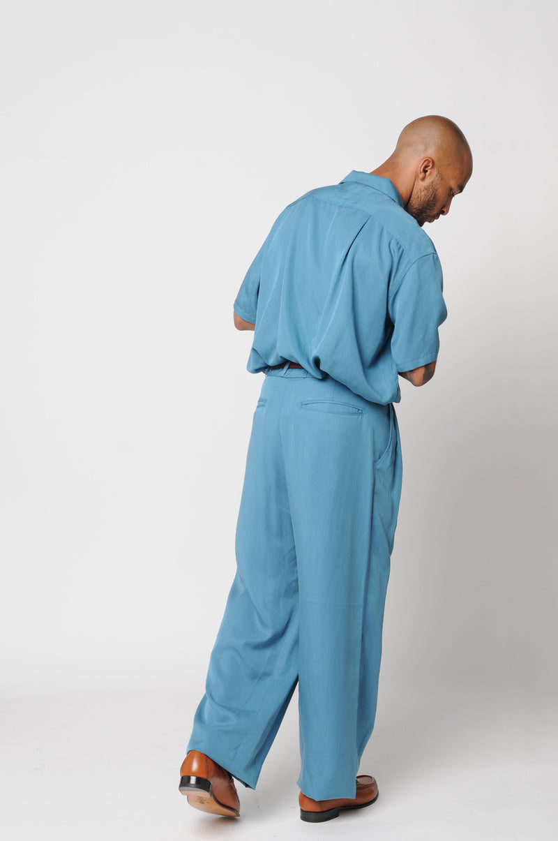 No:M29302 | Name:Triple Tuck Wide Pants | Color:Tencel Cyan【MONITALY】【入荷予定アイテム・入荷連絡可能】