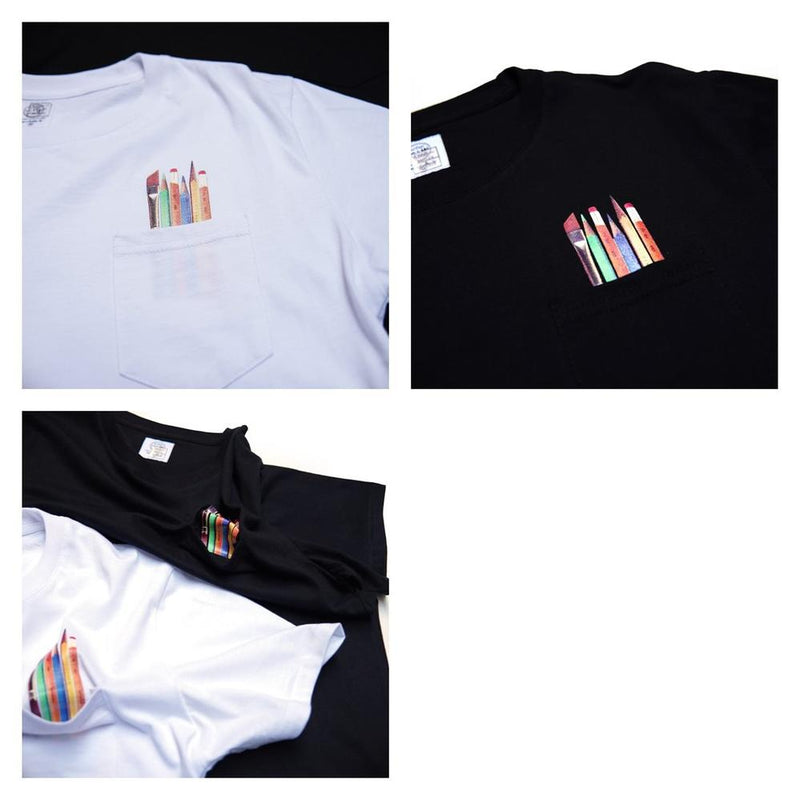 Art Suplies Pocket Tee  Color:White/Black 【ANTLER&WOODS】