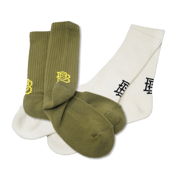 No:BB-BBL | Name:BRUNO | Color:White/Olive | Style:Sox【BILLY BUDDUSKY ビリーバダスキー】