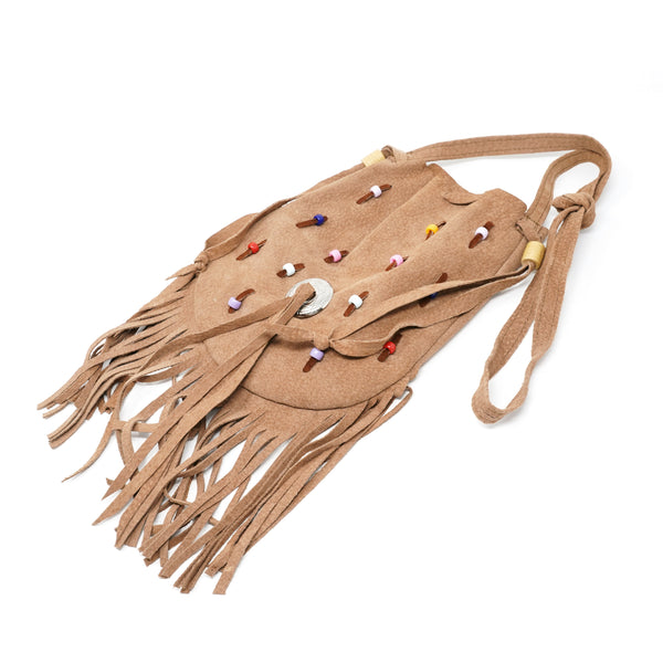 NO:1023-S | Name:SUEDE ROUND POUCH w/FRINGE | Color:CAMEL | Style:【PELETERIA JALISCO】【先行予約・入荷連絡】