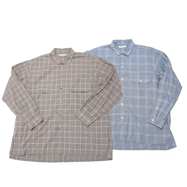 W Pocket Shirts-WindowPane Color:Brown/Blue  【CATTA SHIRTS】