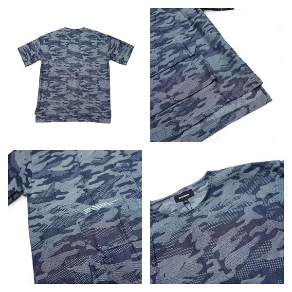 camo pattern big pocket tshirt  Color:Blue CAMO