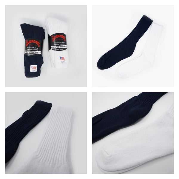 Crew Work Socks 3足セット  Color:White/ Navy【RAILROAD SOCK】