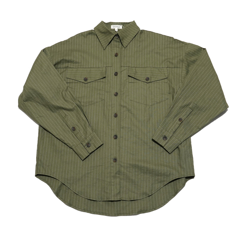 No:22GH03BLG183GRN | Name:Linear Lines Oversized Shirt | Color:GREEN【GHOSPELL ゴスペル】