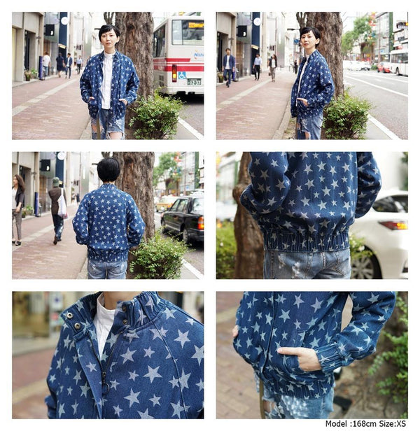 STYLE Name:SUPERNOVA STAR BOMBER Color:WASHED BLUE【THE FIFTH LABEL】
