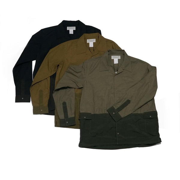 "NYLON SWITCH O/C SHIRT ""Haikui"" Color:BLACK/CAMEL/KHAKI 【KELEN】"