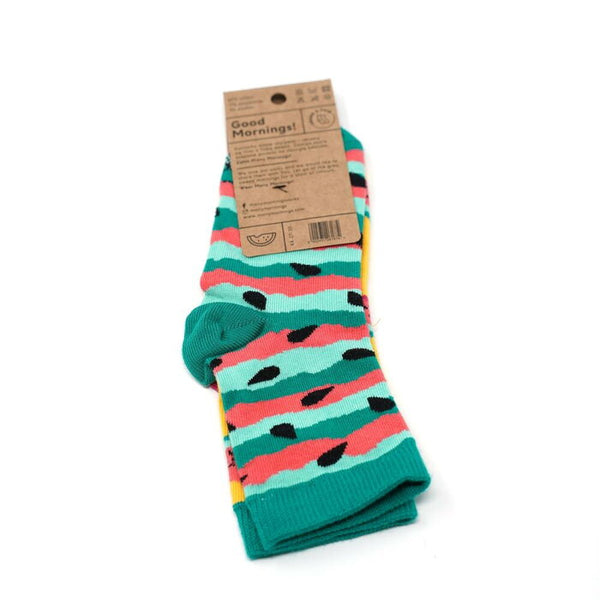 many mornings kids socks -Watermelon- 【many mornings メニ―モーニングス】【ネコポス選択可能】