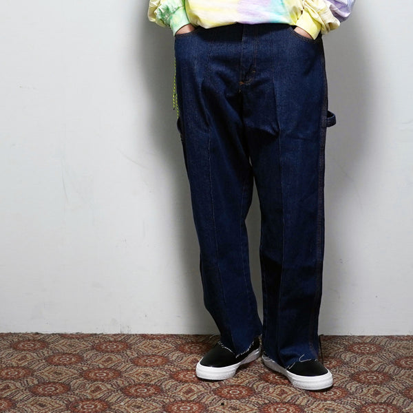 No:REMAKE01 | Name: REMAKE WIDE TUCK DENIM PANTS | Color:PREWASHED INDIGO【RED KAP】