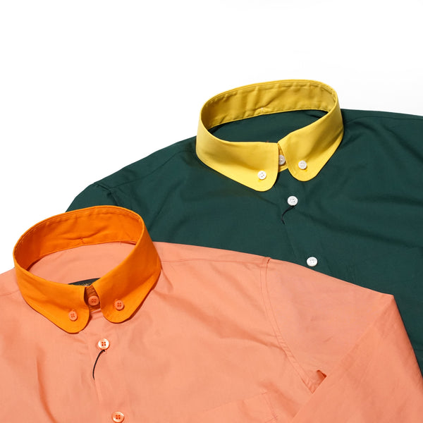 No:sh402 | Name:CLASSIC ROUND COLLAR SHIRTS | Color:GREEN/PINK | Size-M/L【ORGINALJOHN】