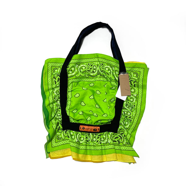No:AT100 | Name:bandana bag | Color:(10)Green×yellow 【Rehersall】【ネコポス選択可能】