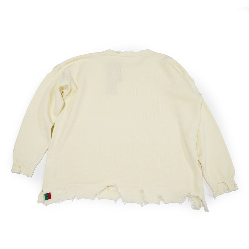NO:VOO-SPG-068 | Name:Damaged Knit | Color:CREAM |【VOO】
