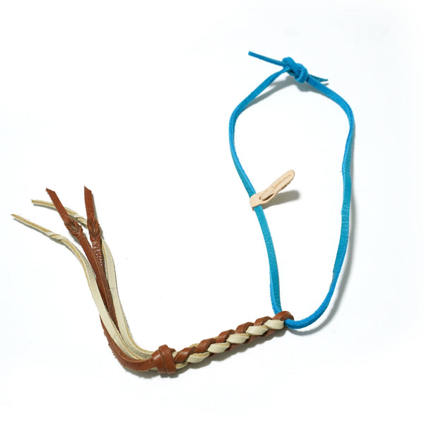 No:yuketenneck03 | Name:Braided Leather Necklace | Color:Cream x Rust【YUKETEN】