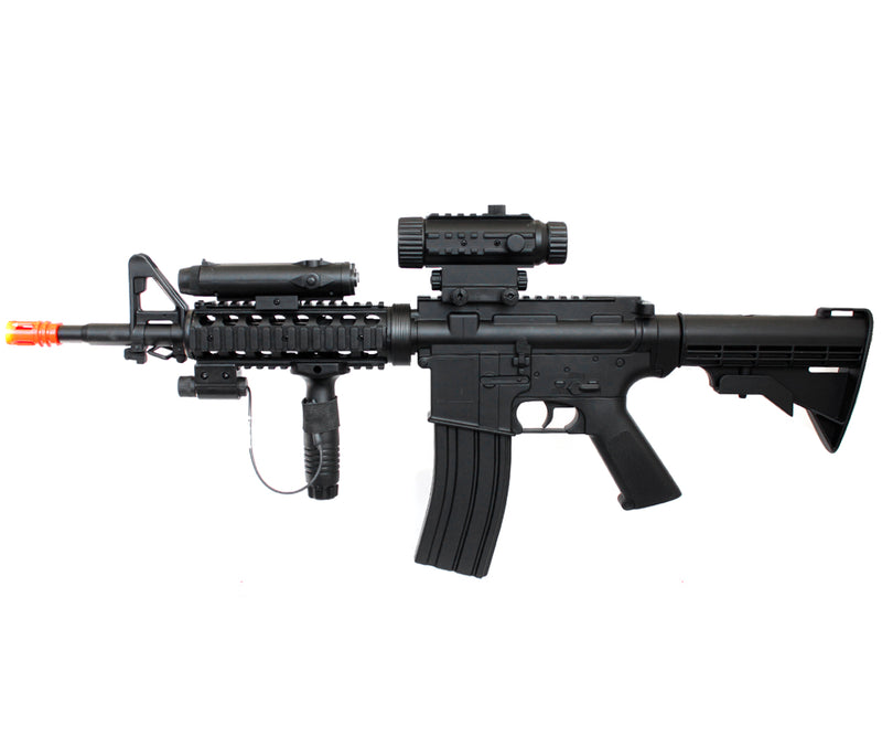 WELL D92H M4A1 RIS Airsoft Gun AEG with Flashlight and Laser