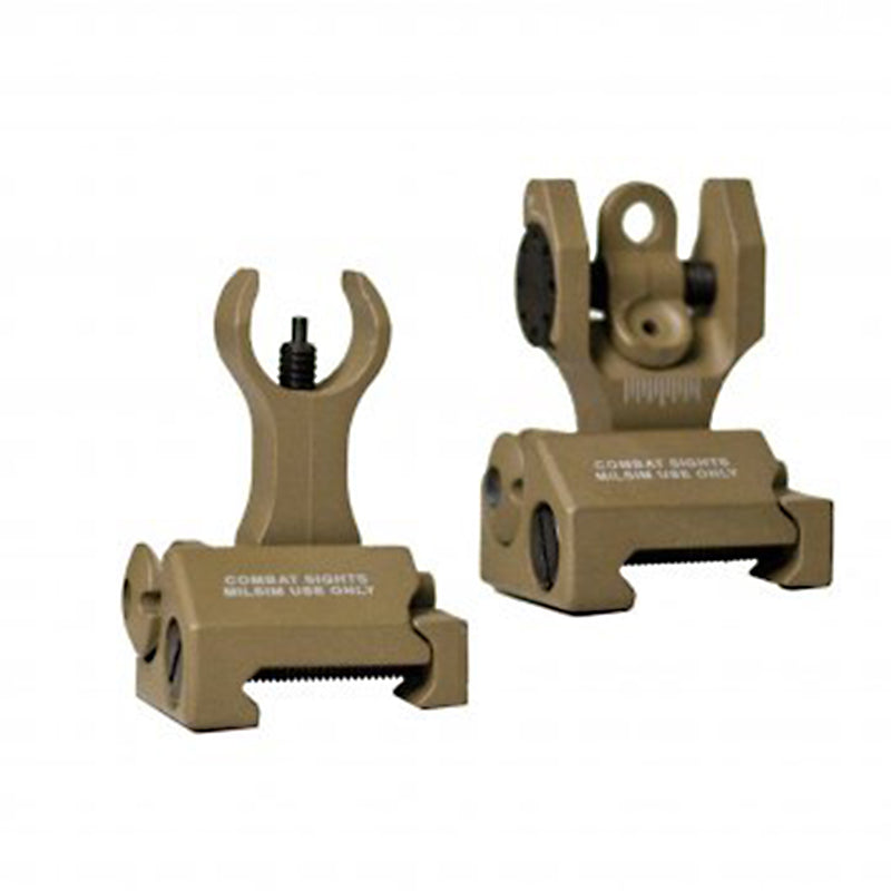 Echo1 Flip-up Front and Rear Combat Sight Set - Tan