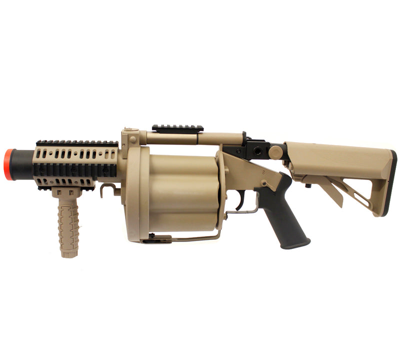 ICS MGL Multi-Shot Revolving 40mm Airsoft Grenade Launcher - Tan