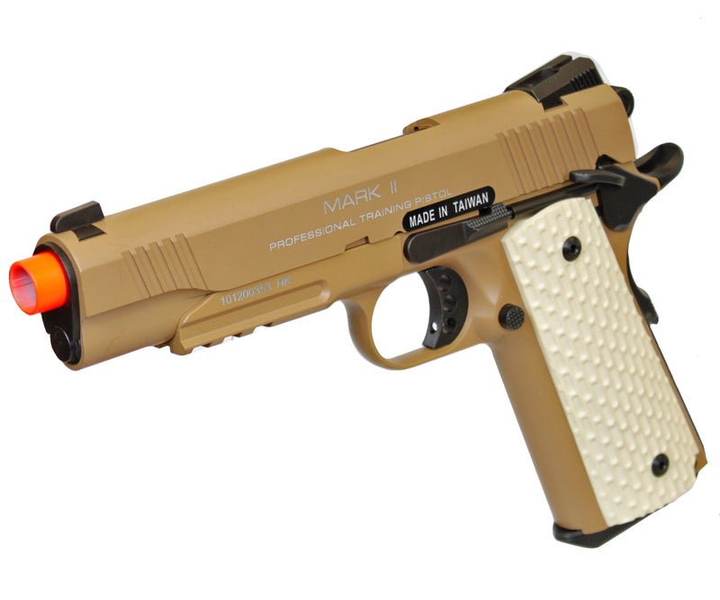 KWA Full Metal M1911 MK II NS2 Gas Blowback Pistol Airsoft Gun - Tan