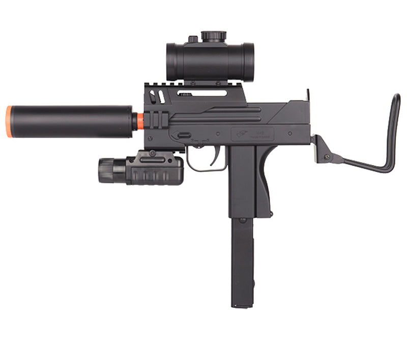 Double Eagle MAC 11 Tactical Spring Airsoft Gun w/ Flashlight, Laser and Sight