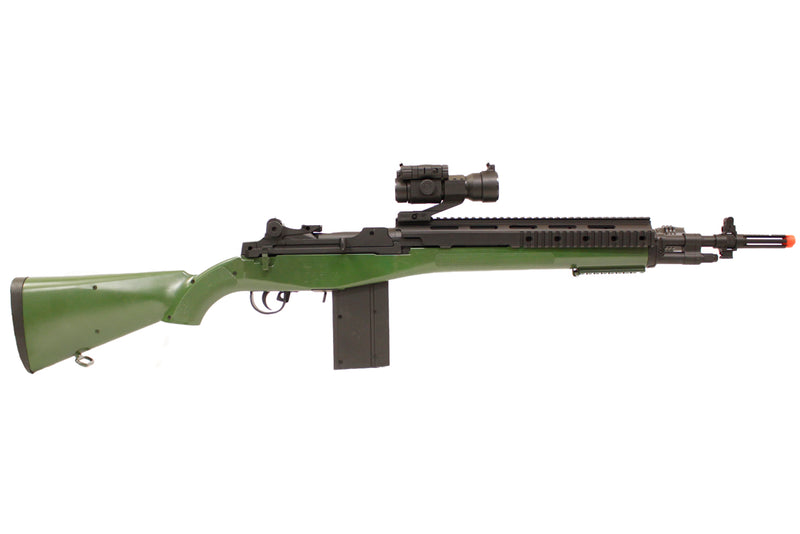 TSD M14 SOCOM RIS Airsoft Spring Sniper Rifle with Red Dot - OD Green