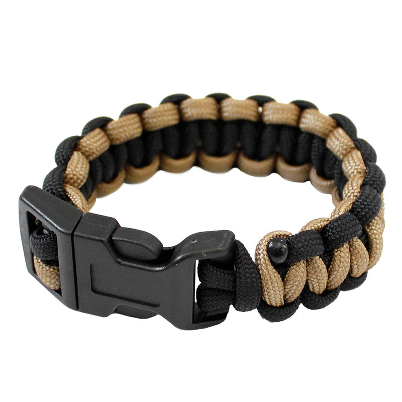 Mil-Spec Cords Cobra Paracord Survival Bracelet Size 5 - Black and Tan