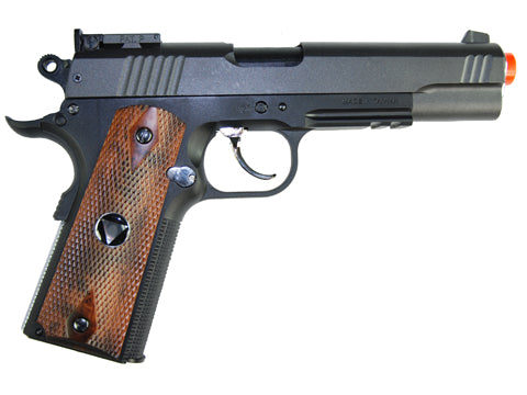 TSD M1911 Tactical Airsoft Spring Pistol - Black with Wood Grips