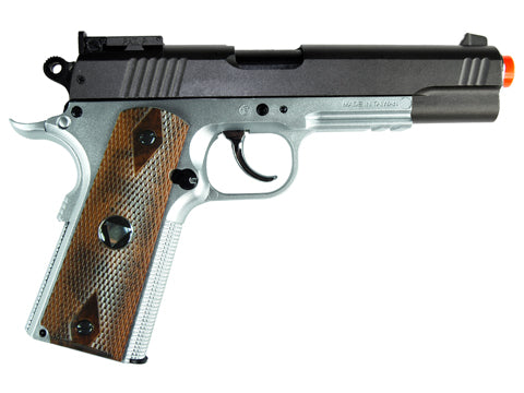 TSD M1911 Tactical Airsoft Spring Pistol - Silver with Wood Grips