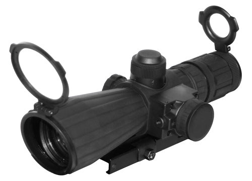NcStar 3-9x42 Rubberized Blue Illuminated Rifle Scope with Built-in Red Laser and QD Mount
