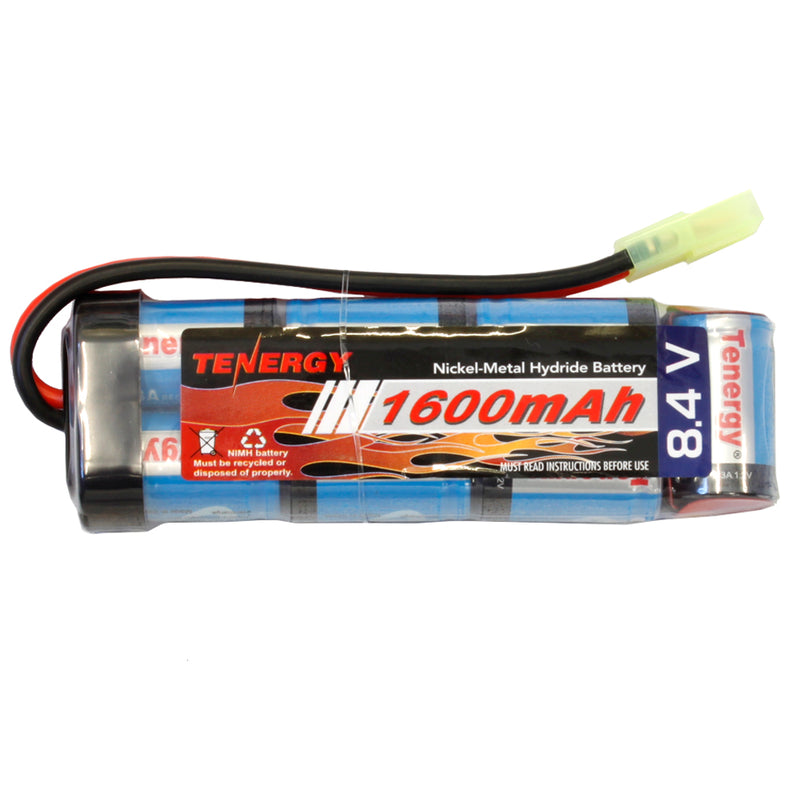 Tenergy 8.4V 1600mAh Mini Tamiya Rechargeable Battery for Airsoft Guns