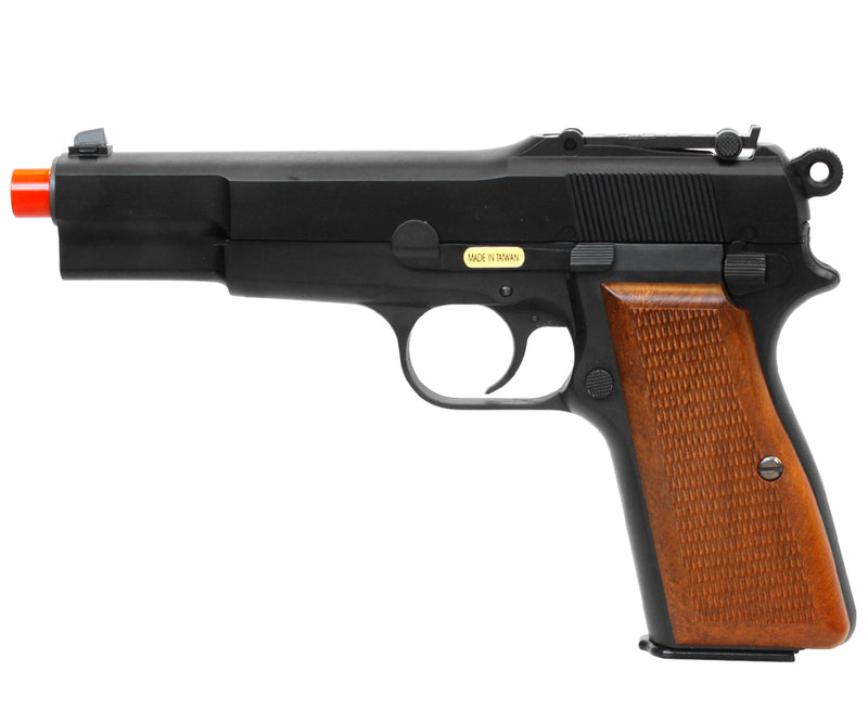 WE TECH Full Metal Browning Hi-Power WWII Gas Blowback Airsoft Pistol - Black