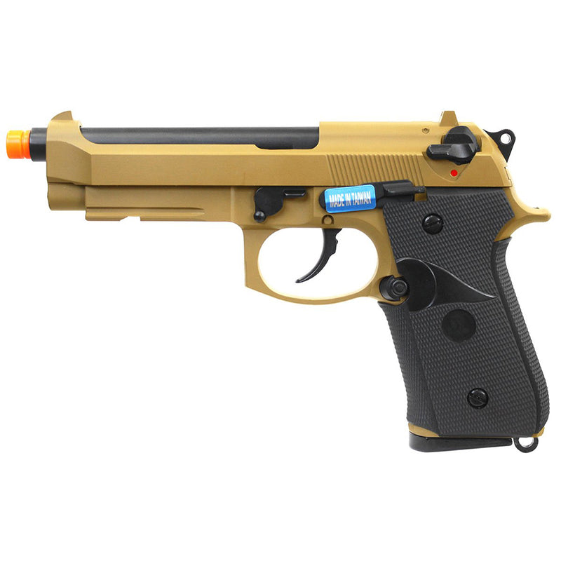WE TECH Full Metal M9 Tactical Gas Blowback Airsoft Pistol - Tan