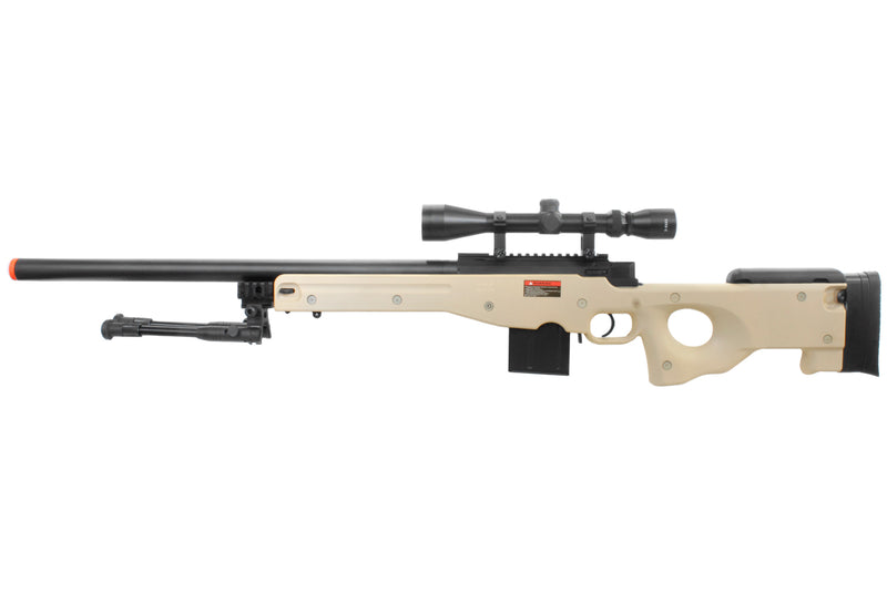 WELL L96 AWP Bolt Action Airsoft Sniper Rifle w/ Scope & Bipod - Tan