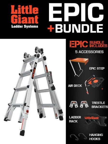 LITTLE GIANT EPIC w/Accessory Bundle  (Safety Rails and Ratchet Levelers Included!)